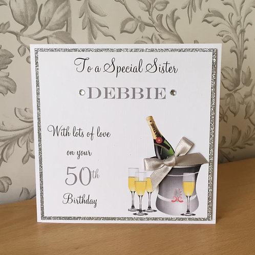 Champagne - Handmade Birthday Card