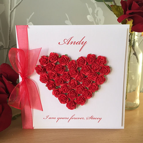 Luxury Mullberry Paper Rose Heart Valentine's Day Card - Handmade, Personalised