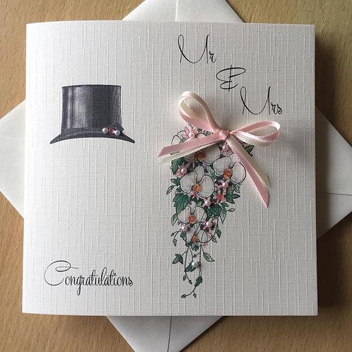 Wedding Day Congratulations Card - Top Hat & Bouquet