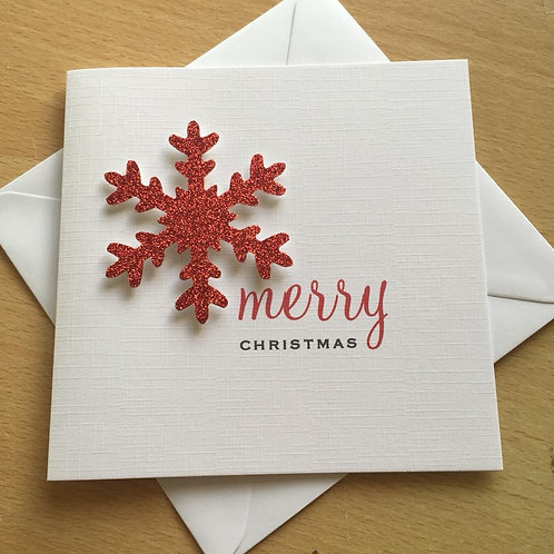 Christmas Card - Personalised - Large Glitter Snowflake