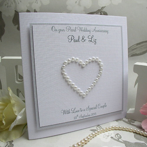 Pearl Wedding Anniversary Card - Heart