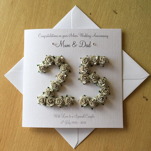 Silver Wedding Anniversary Card - 25 Years - Rose Numbers