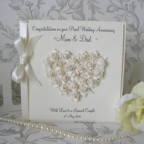 Pearl Wedding Anniversary Card - Rose Heart