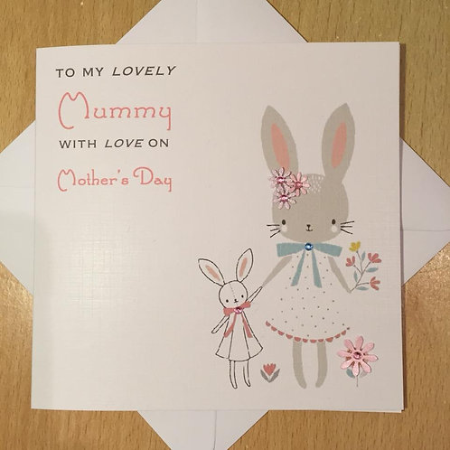 Handmade Mother's Day Card - Floral Rabbits