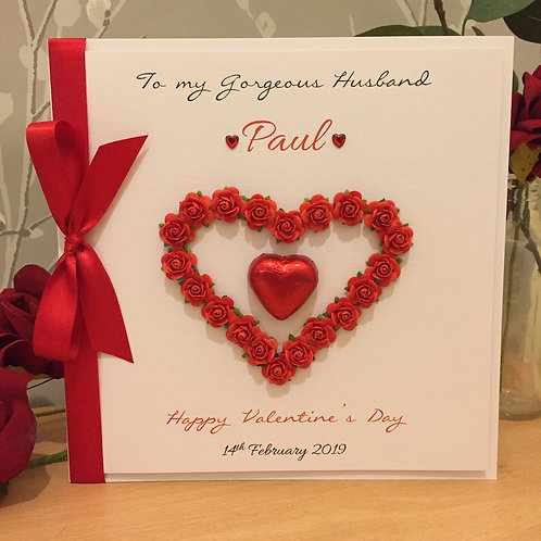 Luxury Valentine's Day Card, Gift Boxed, Handmade & Personalised - LARGE 20cm