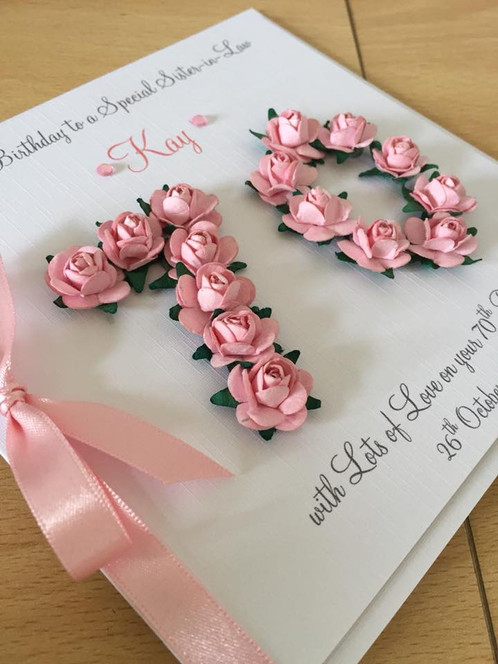 This Special Card Features Numbers Made Up With Mulberry Paper Flowers In Your Chosen Colour And Personalised Wording On A Mounted Panel Finished