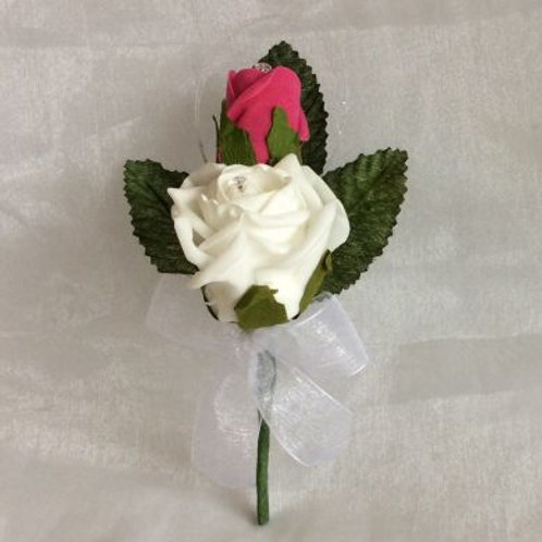 Wedding Buttonhole - Double Shimmer Rose