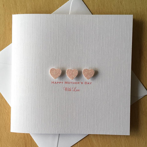 Handmade Mother's Day Card - Glitter Hearts