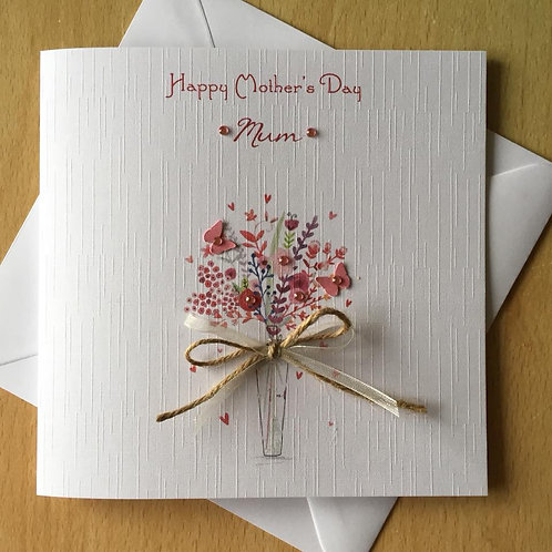 Handmade Mother's Day Card - Vase of Flowers