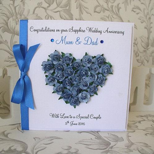 Sapphire Wedding Anniversary Card - 45 Years - Rose Heart