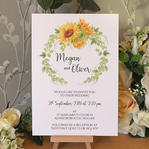 Sunflowers Wedding Invitation - Handmade, Personalised- Single Sided