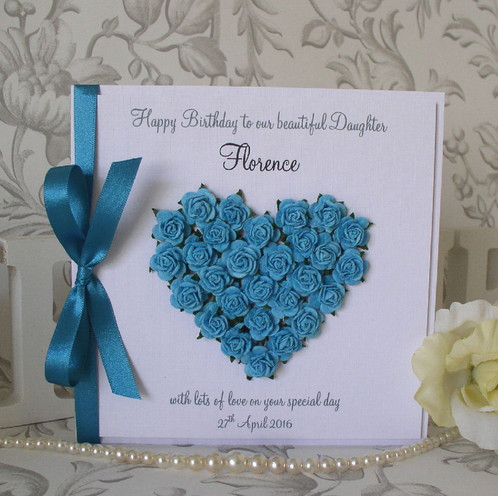 Luxury Handmade Birthday Card Mulberry Paper Flower Heart Boxed
