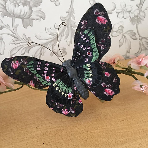 Artificial Butterfly - Black - Fabric & Feather - 15cm