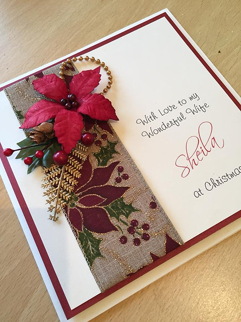 Handmade Christmas Card - Poinsettia - Personalised - Extra Large - Boxed