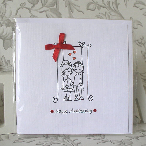 Wedding Anniversary Card - Couple on Swing