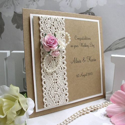 Vintage Roses & Pearls - Wedding Day Congratulations Card