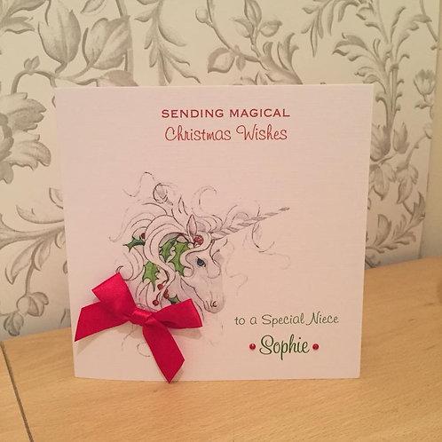 Christmas Unicorn - Personalised - Handmade Christmas Card