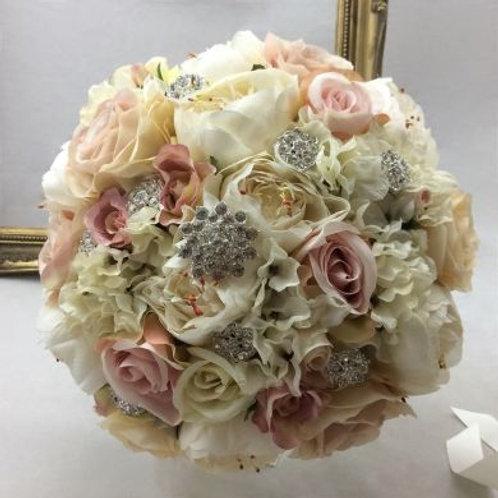 Wedding Bouquet - Vintage Rosa - Silk Rose, Peony & Hydrangea