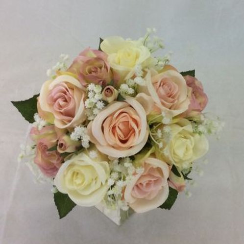 Wedding Bouquet - Lucy - Roses, Gypsophilia & Rose Leaves