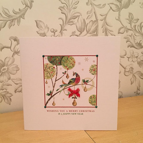 Handmade Christmas Card - Personalised - Partridge in a Pear Tree