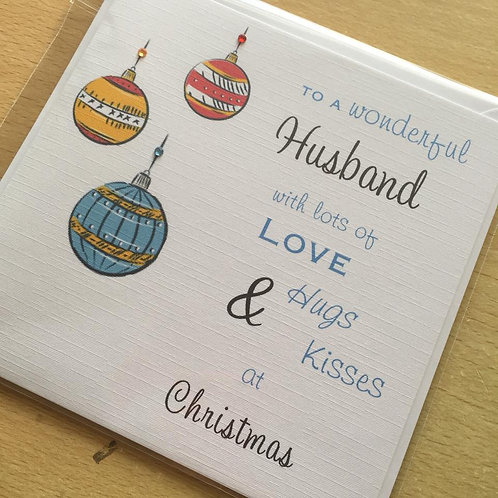 Retro Baubles Christmas Card - Handmade, Personalised