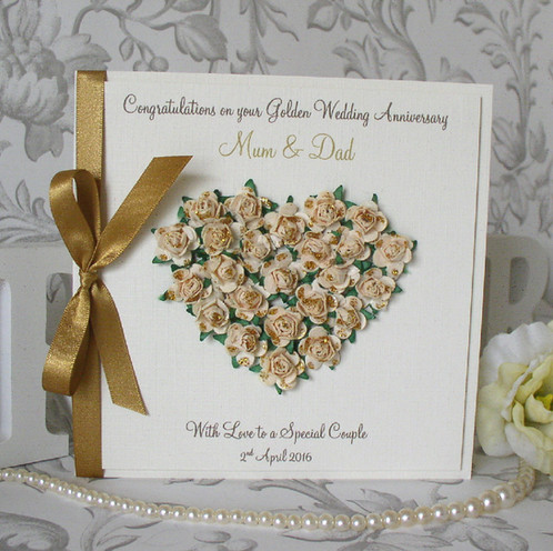 golden wedding anniversary card rose heart