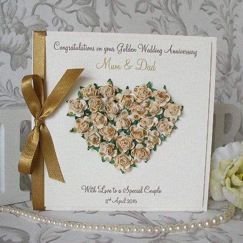 Golden Wedding Anniversary Card - Rose Heart