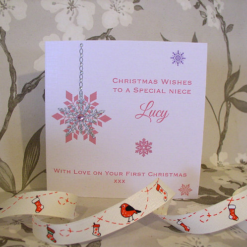 Snowflake Christmas Card - Personalised - any colour