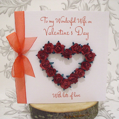 Luxury Open Rose Heart Valentine's Day Card - Handmade, Personalised
