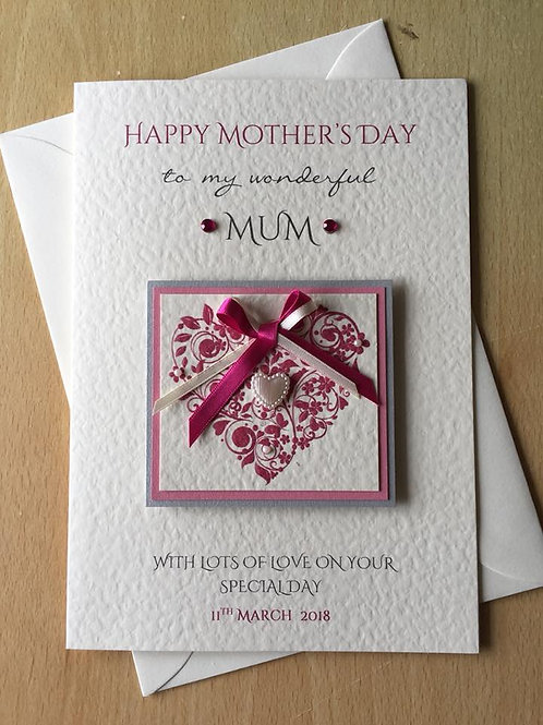 Mother's Day Card - Luxury Butterfly Heart - A5