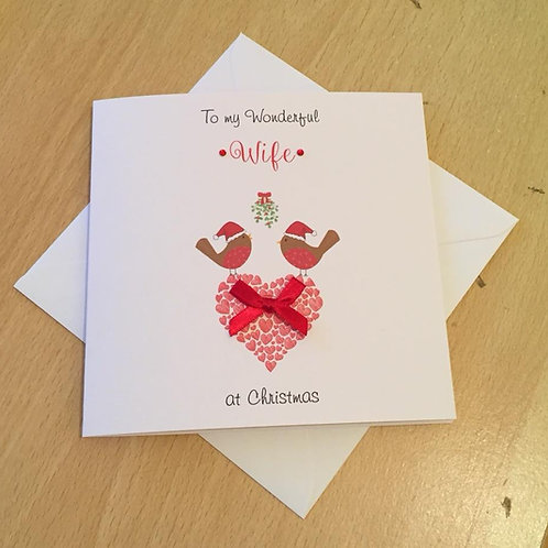 Christmas Card - Personalised -Two Robins Heart