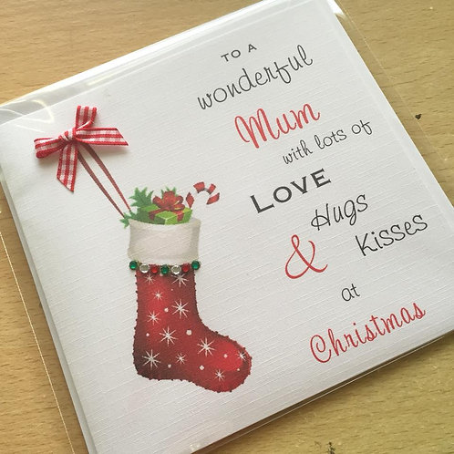 Christmas Stocking - Handmade Christmas Card - Personalised -