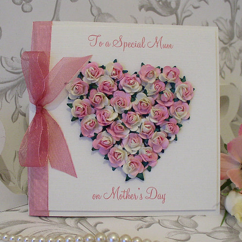 Mother's Day Card - Luxury Rose Heart - lots of colours