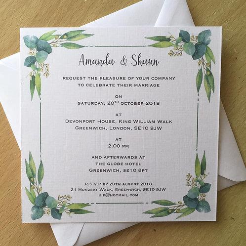 Greenery, Botanical Wedding Invitation - Handmade, Personalised - 15cm