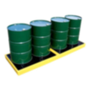 inline spill pallet for 4 drums