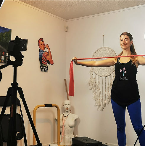 Amy Jayne Smith exercising with a resistance band