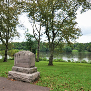Stone marker commemorating Washington's 1776 crossing of the Delaware River