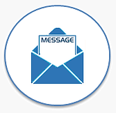 Icon of an envelope with Message at the top