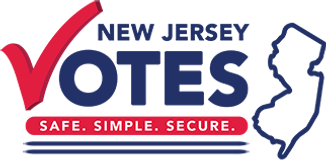NJ Votes Safe Simple Secure logo with the outline of NJ