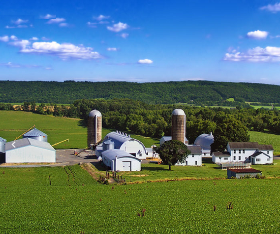 Farm with two silos in  Warren County New Jersey