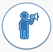 Person holding Mega-phone icon for Social Media