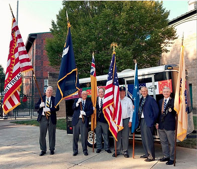 SRNJ Color Guard in front of flag traile