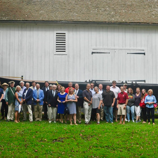 Attendees in front of the Durham Boat Barn