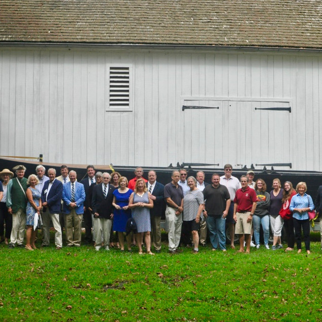 Attendees in front of the Durham Boat Barn​