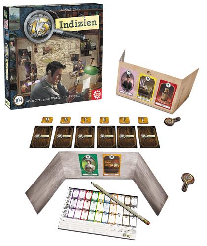 13 Indizien Box und Spielmaterial