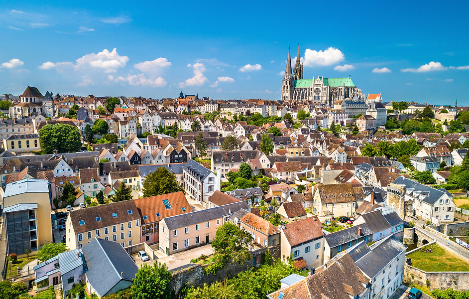 Aerial view of Chartres city with the Ca