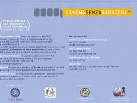 """BARI – Lunedì 13 aprile parte la sesta edizione di """"Cinema senza barriere""""."""