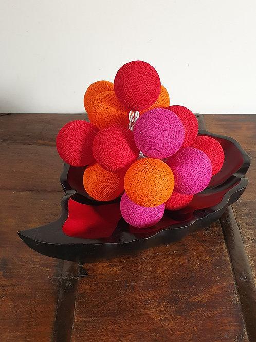 Boule en coton rouge-mauve-orange