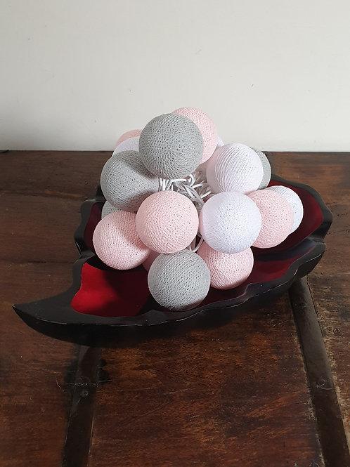 Boule en coton rose-gris