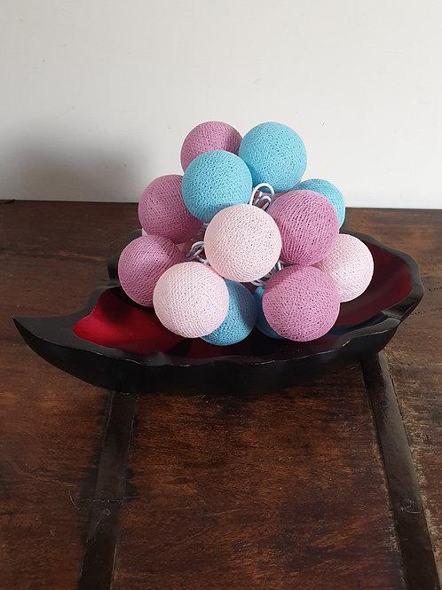 Boule en coton pastel bleu-mauve